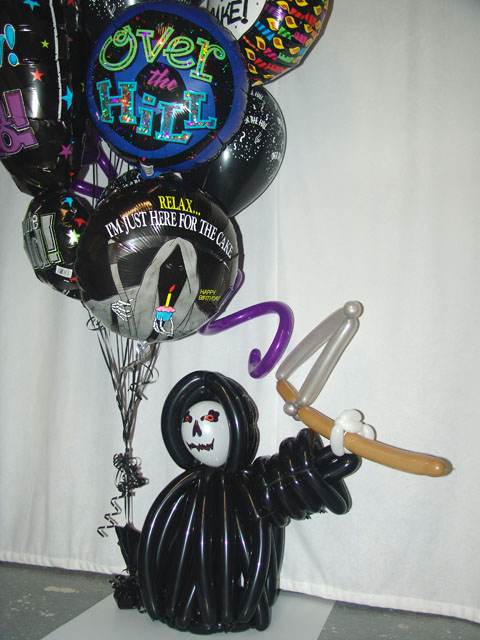 custom grim reaper balloon bouquet delivery denver