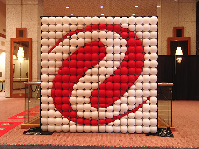 large corporate balloon logo sculpture