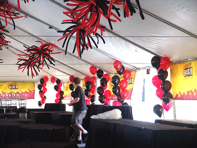 balloon koosh balls inside large outdoor tent