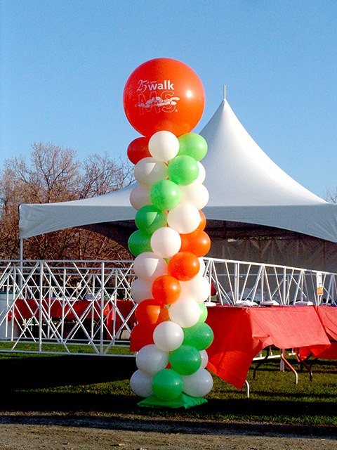 25th anniversary ms society balloon columns